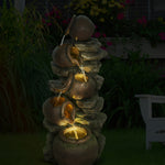 Outdoor 5-Tier Jugs Pots Floor Rack Water Fall Fountain with Yellow LED Light for Patio Yard Garden Lawn-39.37""