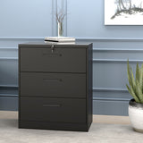 Lateral File Cabinet——Anti-tilt structure/More file space/Office lock design (3 Drawers, Black)