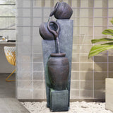 Outdoor Sphere 3-Tier Jugs Pots Floor Rack Water Fall Fountain with Yellow LED Light for Patio Yard Garden Lawn-39.37""