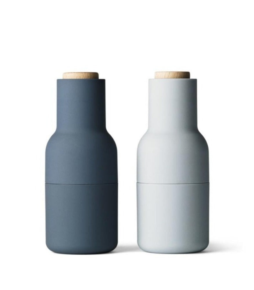 Menu Bottle Grinder Set - Blues with Beech lid