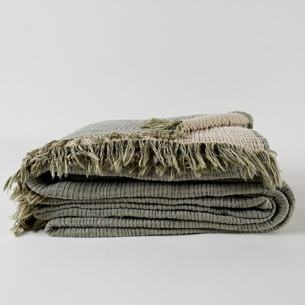 Enes Cotton Throw  Olive/Clay