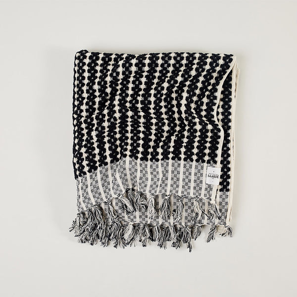 Hand Loom Cotton Handtowel in Black