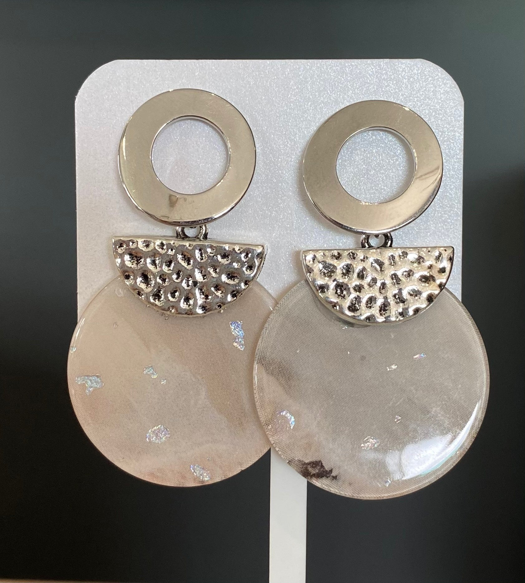Silver and resin disc drop earrings