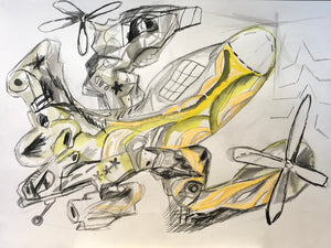 "Pedro Vizcaino Airplanes Series II #4  Mixed Media on Paper  24"" x 18""  2020"