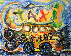 "Pedro Vizcaino Taxi #1  Mix media on Heavy Paper  23"" x 18""   2020"
