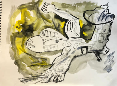 Pedro Vizcaino Airplane Series II #1  Mixed Media on Paper  24