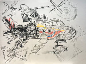 "Pedro Vizcaino Airplane Series II #3  Mixed Media on Paper  24"" x 18""  2020"