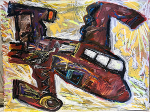 "Pedro Vizcaino Airplane Series I  Mixed Media on Paper  18"" x 24""  2020"