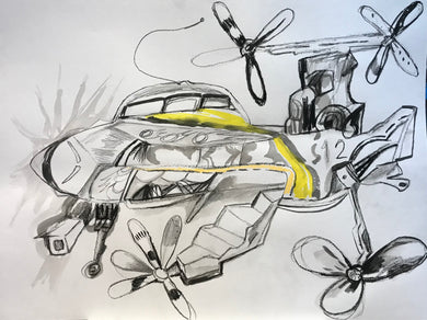 Pedro Vizcaino Airplane Series II #2  Mixed Media on Paper  24