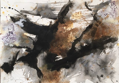 Baruj Salinas - Sepia & Black Composition,  Acrylic on Paper,  14