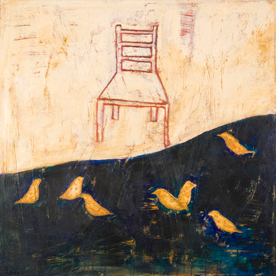 Connie Lloveras - Chair and Birds,  Mixed Media on canvas,  48