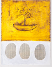 "Load image into Gallery viewer, Connie Lloveras - Pod with Tree and Three Eggs, Mixed Media on paper, 30"" x 22"",  2012, Cuban Art"