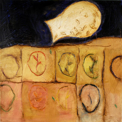 Connie Lloveras  - Rostros y Semillas,  Mixed Media on canvas, 36