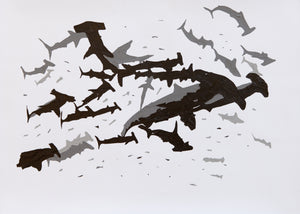 "Pavel Acosta Shark I - from the Series:Stolen Paint  Recycled paint/cardboard  60"" x 50""  2009"