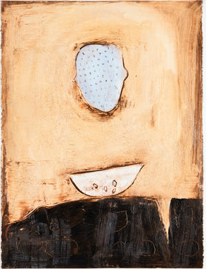 Connie Lloveras - Head with letters, Vessel and Seeds, Mixed Media on paper, 39