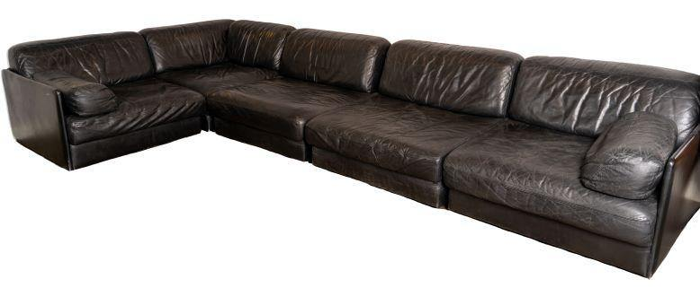 Black Leather Sofa Set of 5