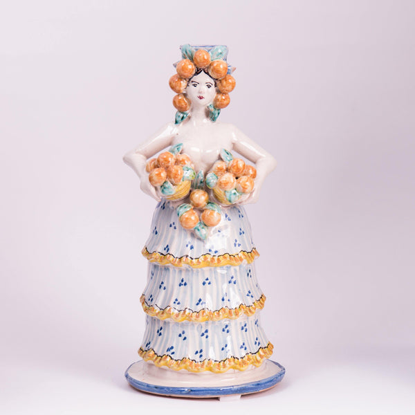 Candle Holder- Lady with Orange  Basket