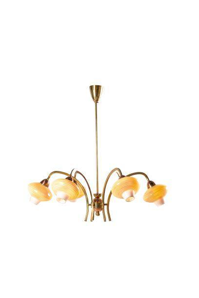 1950's Yellow Opaline Chandelier
