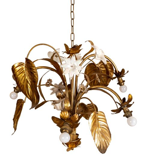 Vintage Brass White Flower Chandelier