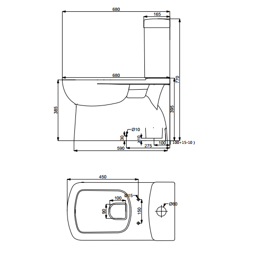 Washdown Close-Coupled Toilet | HD200N