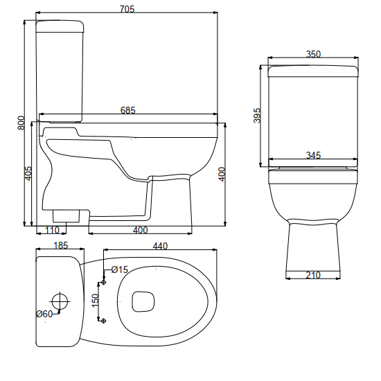 Washdown Close-Coupled Toilet | HD20N