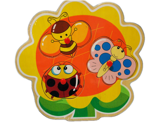 Wooden Puzzle w-handle - Insect Tree
