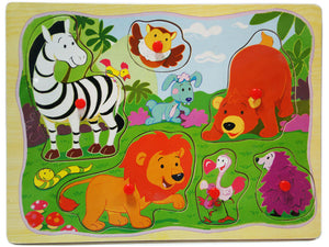Wooden Puzzle w-handle - Wide Animal in Country