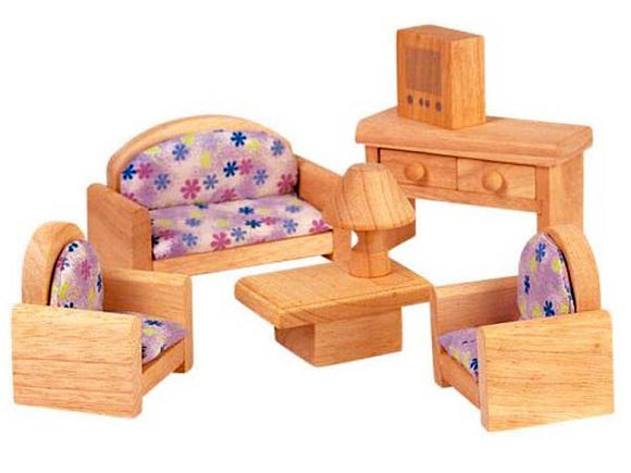 Wooden Doll House Furniture - Classic Living Room
