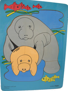 Wooden Puzzle - Manatee and Calf