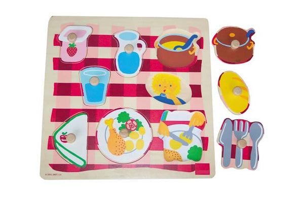 Wooden Puzzle with Handle - Tableware