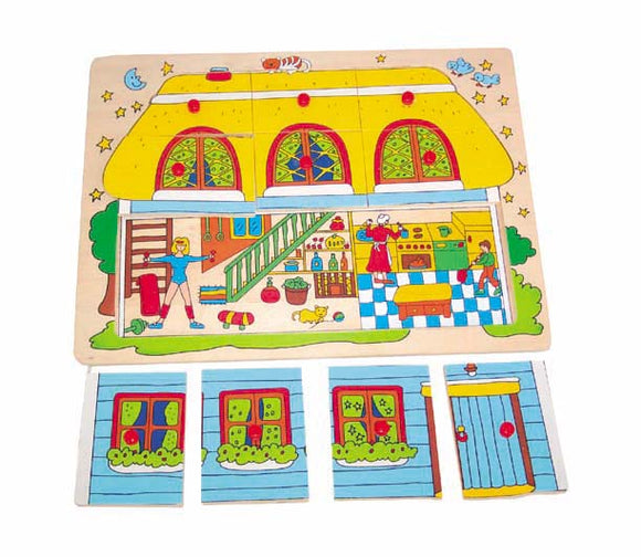 Wooden Puzzle with Handle - House
