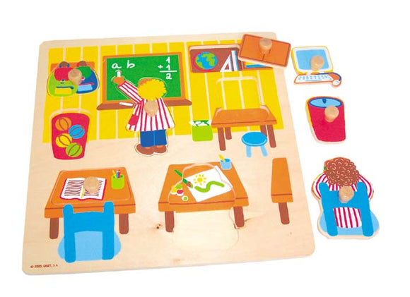 Wooden Puzzle w-handle - Classroom