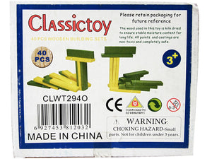 40 pcs Wooden Building Sets (Yellow-Green)