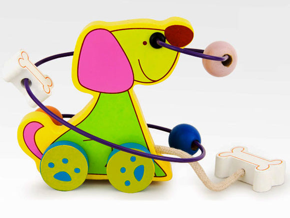 Happy Dog Pull Bead Car