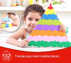 132PCS Triangle Plug Match Building Blocks