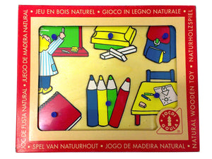 Wooden Puzzle handle - Shapes and Colors in School
