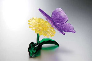 3D Crystal Puzzle - Butterfly and Flower(Purple-Yellow)