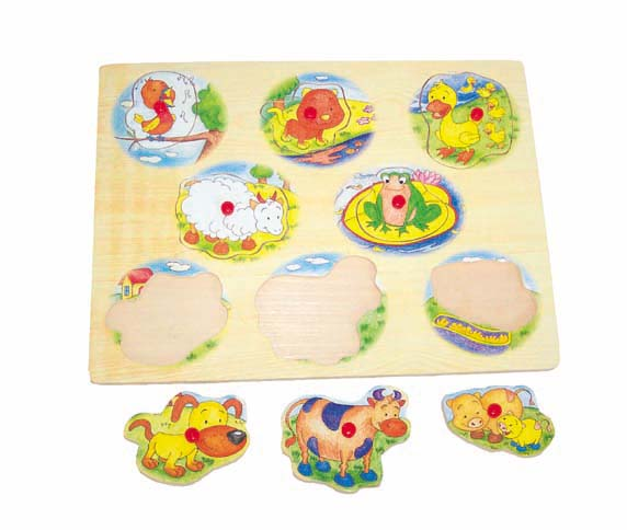 Wooden puzzle with handle - Cute Animals