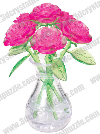 3D Crystal Puzzle - Six Rose (Pink)
