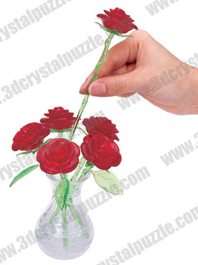 3D Crystal Puzzle - Six Rose (Red)