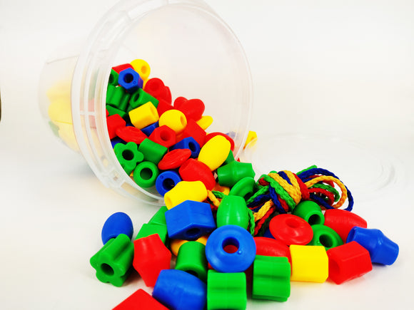 120 pcs Assorted Plastic Lacing Beads in a Bucket