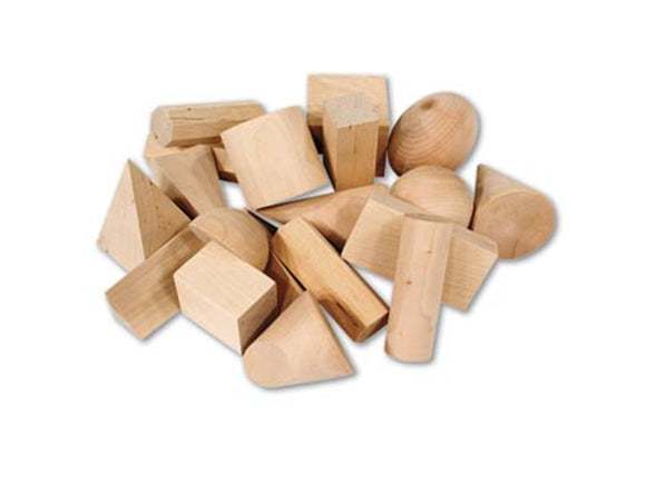 Wood Geometric Solids, Set of 19