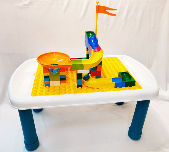 Multi-functional Study Blocks Desk w/Marble Run Building Blocks 75pcs