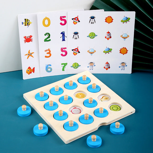 Wooden memory pair game