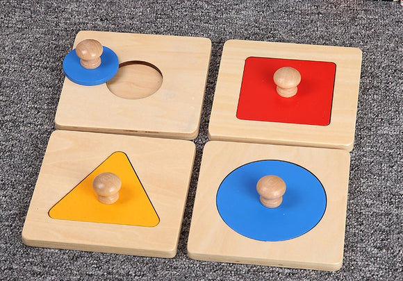 Montessori 4 Geometric Shape Wooden Puzzle w-handle