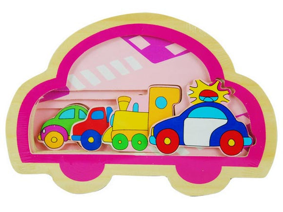 Wooden Puzzle Toy Traffic Vehicle