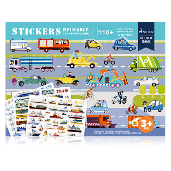 MIDEER REUSABLE STICKERS -TRANSPORTATION