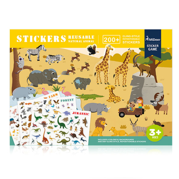 MIDEER REUSABLE STICKERS - NATURE ANIMAL
