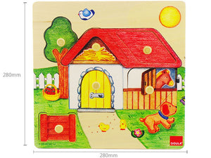 Wooden Puzzle with Handle - Farm House