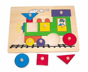 Wooden Puzzle with Handle - Train